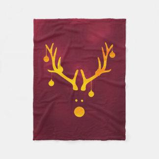 Santa's reindeer faux gold cute minimal burgundy fleece blanket