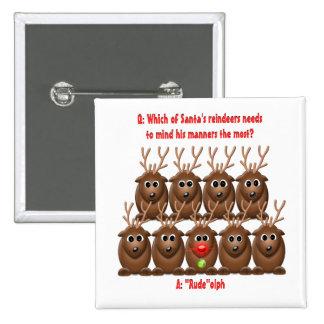 Santa's Reindeer Funny Christmas Button