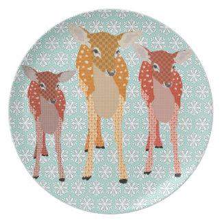 Santa's Reindeer II Vintage Blue Snowflake  Plate