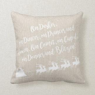 Santa's Reindeer Linen Christmas Pillow