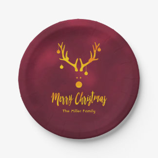 Santa's reindeer Rudolph in faux gold on burgundy Paper Plate