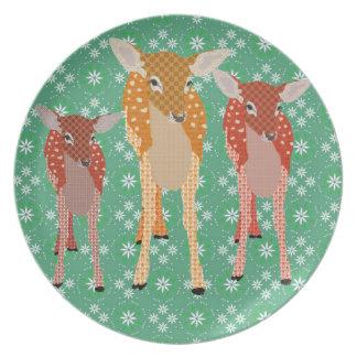Santa's Reindeer Vintage Green Snowflake  Plate