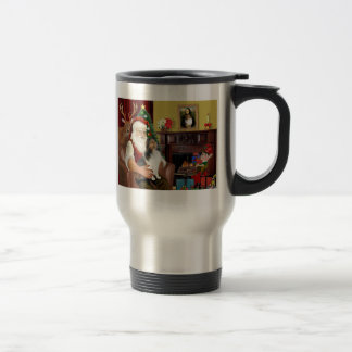 Santa's Shetland Sheepdog (L) Travel Mug
