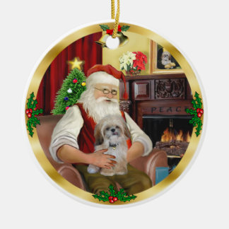 Santa's Shih Tzu (#17) Ceramic Ornament