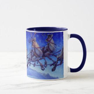 Santa's sleigh and reindeer in flight mug