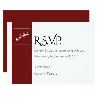 Santa's Sleigh Christmas Wedding RSVP Card