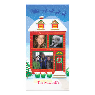 Santa's Sleigh flying over House Photo Card