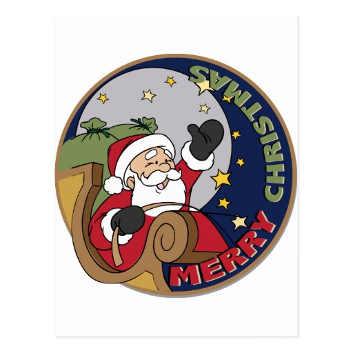 Santa's Sleigh in a Round Illustration Tees Gifts Post Cards