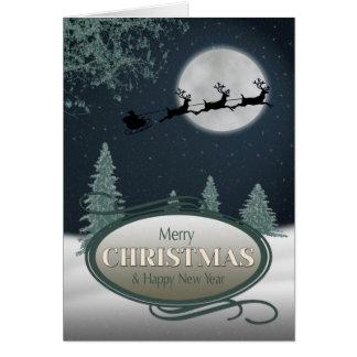 Santa's Sleigh on a Snowy Night Christmas Card