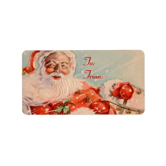 Santas Sleigh Ride Gift Tag Stickers Address Label