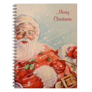 Santas Sleigh Ride Vintage Christmas Notebook