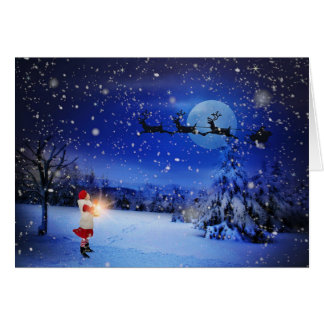 Santa's Sleigh Snowy Night Christmas Greeting Card