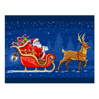 Santa's Sleigh with a Reindeer Postcard