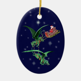 Santa's Sleigh with Dragons Ceramic Oval Decoration