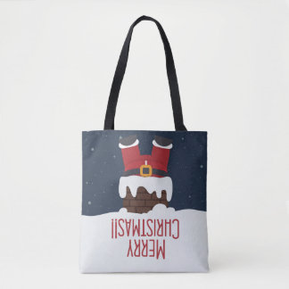 Santa's Stuck in the Chimney, Merry Christmas Tote Bag