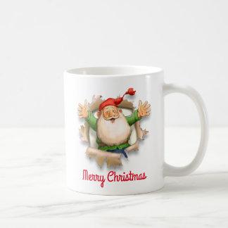 Santa's Surprise Merry Christmas Coffee Mug