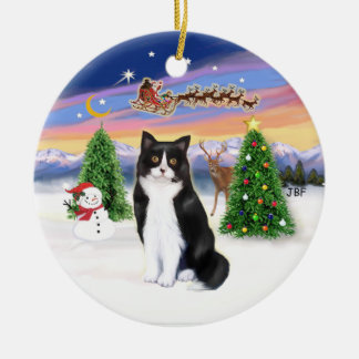 Santas Take Off - Black and White cat (ASH) Round Ceramic Decoration