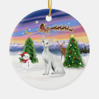 Santas Take Off - Devonshire Rex cat Round Ceramic Decoration