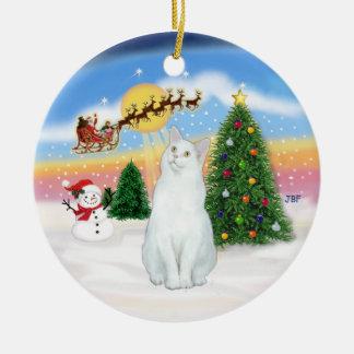 Santas Take Off - White cat (American SH) Ceramic Ornament