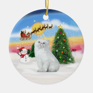 Santas Take Off - White Persian cat Round Ceramic Decoration