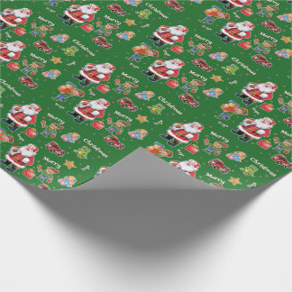 Santa's toys and elves wrapping paper green