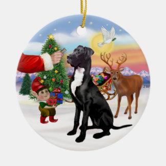Santas Treat - Black Great Dane Round Ceramic Decoration