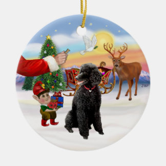 Santa's Treat - Black Standard Poodle Ceramic Ornament