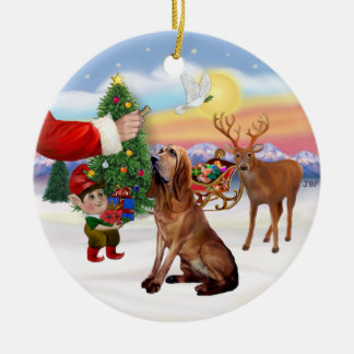 Santas Treat - Bloodhound Ceramic Ornament