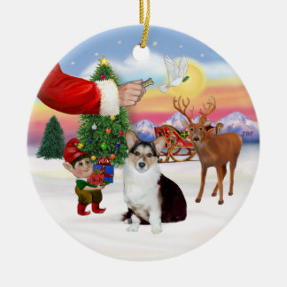 Santa's Treat  - Welsh Corgi (tri color) Ceramic Ornament