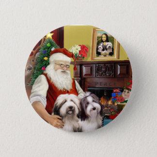 Santa's Two Bearded Collies 6 Cm Round Badge