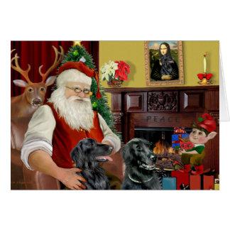 Santa's Two Flat Coated Retrievers Greeting Card