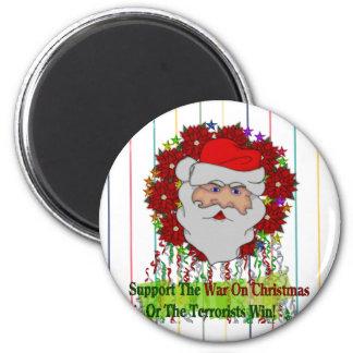 Santa's War On Xmas 6 Cm Round Magnet