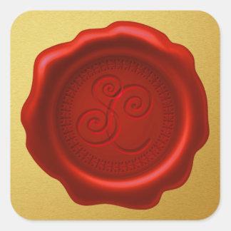 Santa's Wax Seal with Initials Golden Sticker