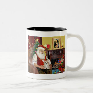 Santa's Welsh Corgi Puppy (Pemb) Two-Tone Coffee Mug
