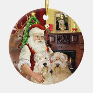 Santa's Wheaten terriers (TWO) Ceramic Ornament