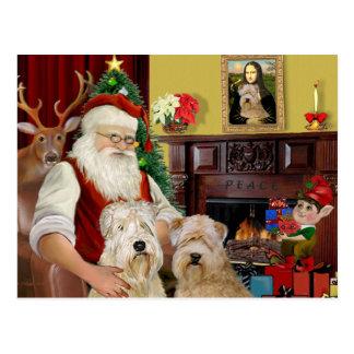 Santa's Wheaten Terriers (TWO) Postcard