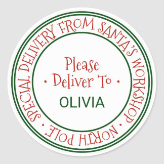 Santa's Workshop Christmas Gift Classic Round Sticker