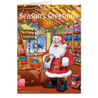 santa's workshop cute fun christmas card