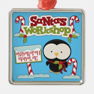 Santa's Workshop Penguin Metal Ornament