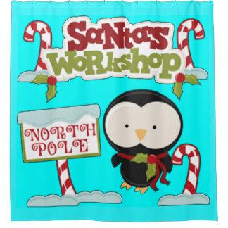 Santa's Workshop Penguin Shower Curtain