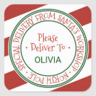 Santa's Workshop Stripe Christmas Gift Square Sticker