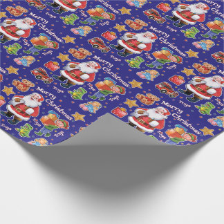 Santa's workshop toys wrapping paper blue