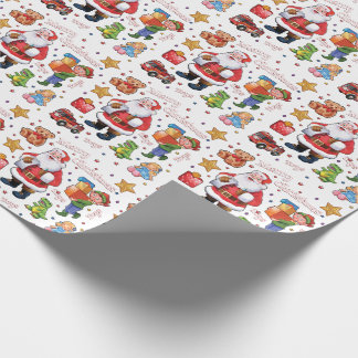 Santa's workshop toys wrapping paper white