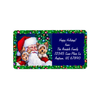 Santa's Yorkies at Christmas Labels