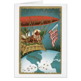 Santa's Zeppelin - American Patriotism Card