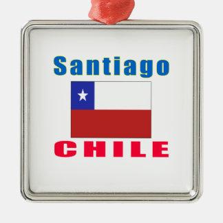 Santiago Chile capital designs Silver-Colored Square Decoration