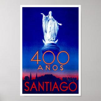 Santiago Chile Vintage Travel Poster