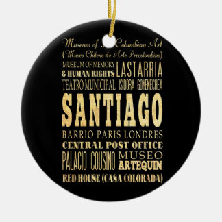 Santiago City of Chile Typography Art Christmas Tree Ornaments