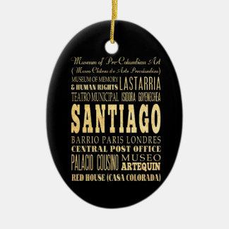 Santiago City of Chile Typography Art Ceramic Oval Decoration