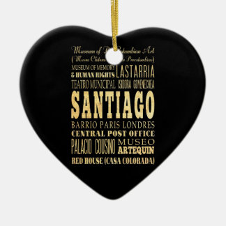 Santiago City of Chile Typography Art Double-Sided Heart Ceramic Christmas Ornament